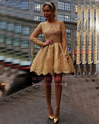 Sheer Gold Luxury Long-Sleeves Appliques Short Homecoming Dress UKes UK_1