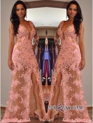 V-Neck Elegant Tulle Appliques Front-Split One-Shoulder Prom Dress UK_2