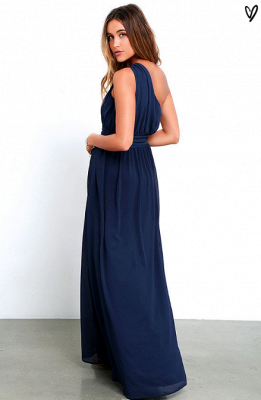 Sexy Navy Blue One Shoulder Prom Dress UKes UK Chiffon Long Floor Length BA3598_6
