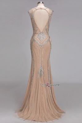 Sleeveless Beadings Long Mermaid V-Neck Luxury Crystal Prom Dress UK_4