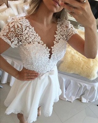 Lovely Short Sleeve White Homecoming Dress UK Lace Short Pearls BT0_5