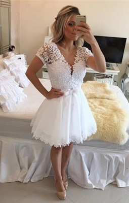 Lovely Short Sleeve White Homecoming Dress UK Lace Short Pearls BT0_1