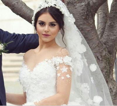 Elegant Off the Shoulder Ball Gown Wedding Dresses UK Tulle_4