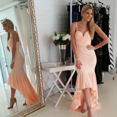 Nude Sweetheart Luxury Mermaid Hi-Lo Spaghetti-Starps Prom Dress UK_2
