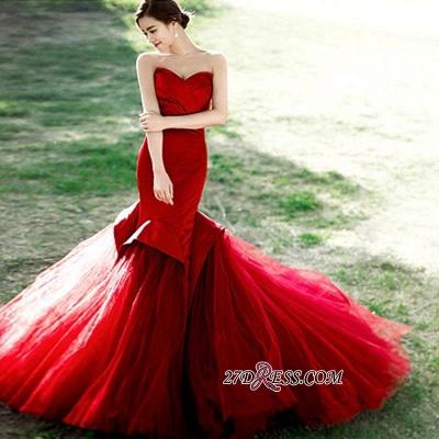 Red Sweetheart Elegant Lace-Up Mermaid Evening Dress UK_1
