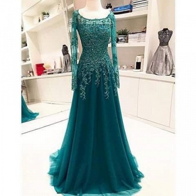 Long-Sleeves Scoop Beaded Appliques Lace A-Line Blue Evening Dress UK BA6753_1