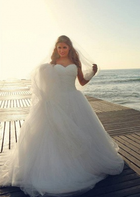 Timeless Tulle Beadss White Wedding Dress Plus Size Lace-up Sweetheart_2