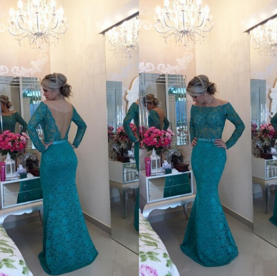 Modern Long Sleeve Lace Mermaid Prom Dress UK Pearls Off-the-shoulder BA2588 BT0_2