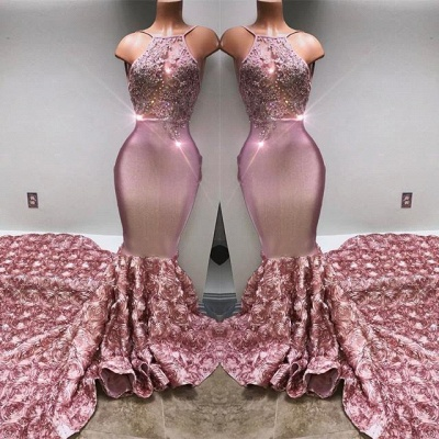 Gorgeous Halter Mermaid Pink Prom Dress UK Lace With 3D-Floral Flowers Bottom BA7797_3