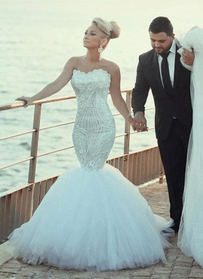 Elegant Sweetheart Sexy Mermaid Lace Wedding Dresses UK Sexy Mermaid Tulle_1