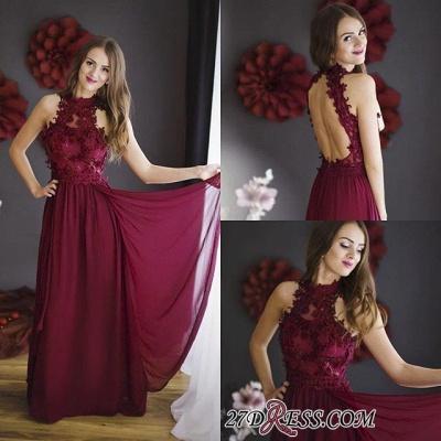 Lace Halter Chiffon Floor-length Sheath Burgundy Sleeveless Prom Dress UK_1