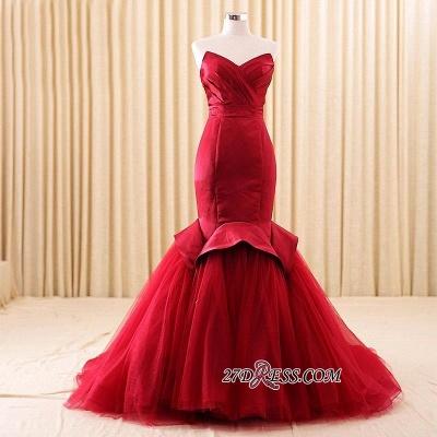 Red Sweetheart Elegant Lace-Up Mermaid Evening Dress UK_2
