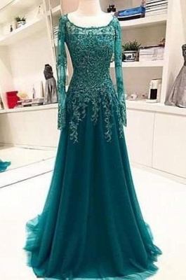 Long-Sleeves Scoop Beaded Appliques Lace A-Line Blue Evening Dress UK BA6753_2