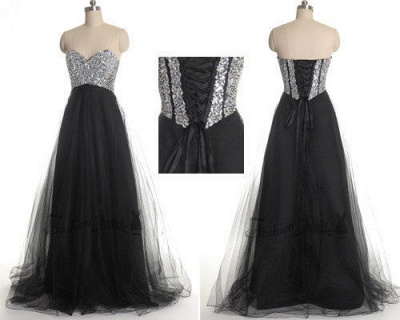Gorgeous Sweetheart Sleeveless Tulle Prom Dress UK With Sequins_2