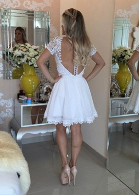 Lovely Short Sleeve White Homecoming Dress UK Lace Short Pearls BT0_3