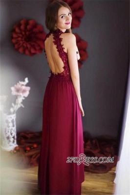 Lace Halter Chiffon Floor-length Sheath Burgundy Sleeveless Prom Dress UK_2