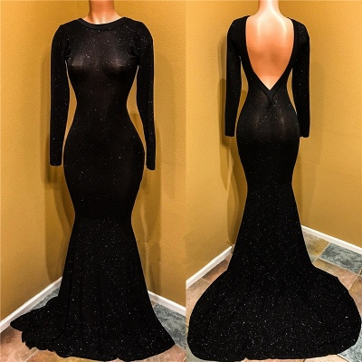 Elegant Black Prom Dress UK | Long Sleeve Sequins Mermaid Party Dress UK_3