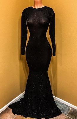 Elegant Black Prom Dress UK | Long Sleeve Sequins Mermaid Party Dress UK_1