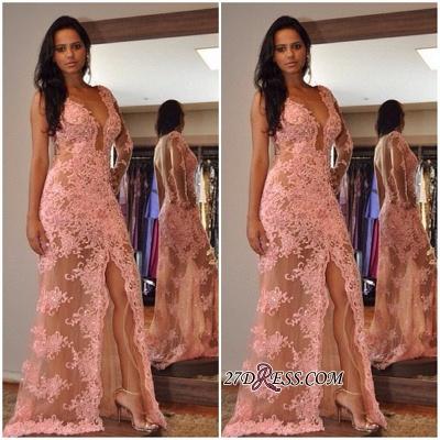 V-Neck Elegant Tulle Appliques Front-Split One-Shoulder Prom Dress UK_1
