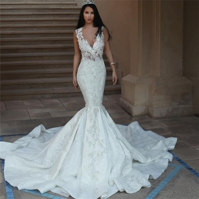 Gorgeous V-Neck Wedding Dress   Sexy Mermaid Lace Bridal Gowns On Sale_3