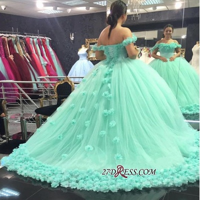 Off-The-Shoulder Cloud Rose-Flowers Mint-Green Ball-Gown Prom Dress UKes UK_1
