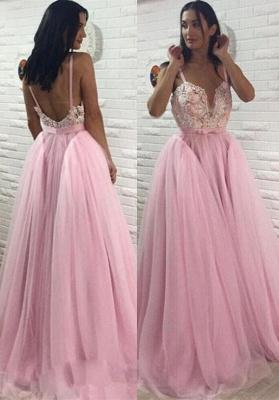 Sexy Pink Tulle Evening Dress UK | Long Lace Prom Dress UK_1