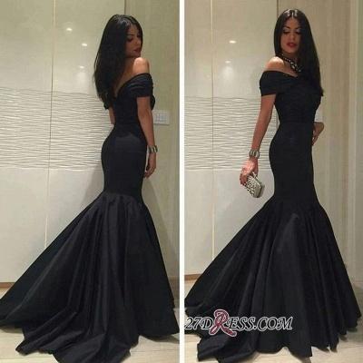 Sweep-Train Elegant Off-the-Shoulder Black Mermaid Prom Dress UK BA5114_1