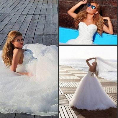 Timeless Tulle Beadss White Wedding Dress Plus Size Lace-up Sweetheart_4