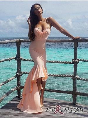 Nude Sweetheart Luxury Mermaid Hi-Lo Spaghetti-Starps Prom Dress UK_4
