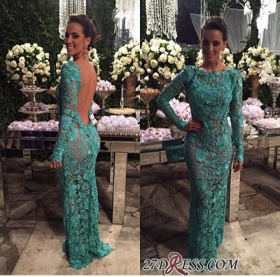 Sheer-Lace Open-Back Mermaid Long-Sleeves Long Evening Gown BA7427_1