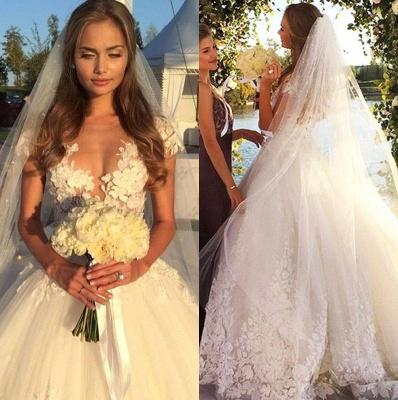 Elegant Cal Sleeve Wedding Dress 3D Floral Appliques Princess Bridal Gowns Tulle_1