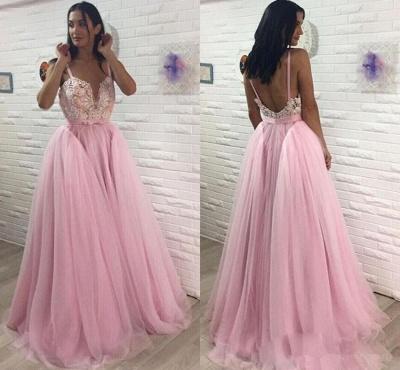 Sexy Pink Tulle Evening Dress UK | Long Lace Prom Dress UK_3