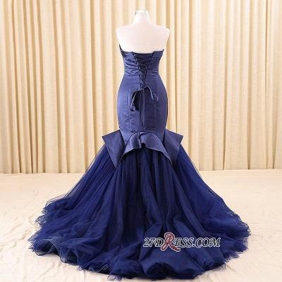 Red Sweetheart Elegant Lace-Up Mermaid Evening Dress UK_3