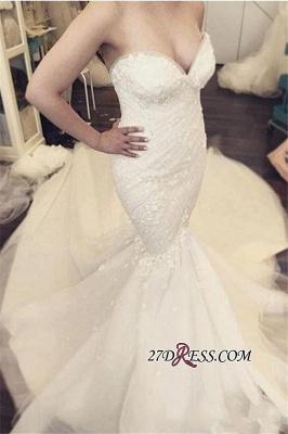 Floral Sleeveless Sexy Mermaid Luxurious Strapless Open-Back Ruffles Detachable-Train WEdding Dress_3