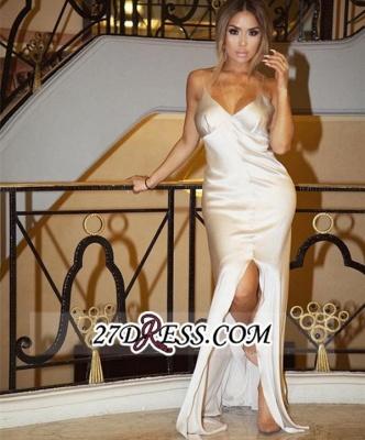 Spaghetti-Straps Split Sheath V-Neck Elegant White Prom Dress UK_1