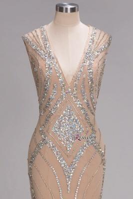 Sleeveless Beadings Long Mermaid V-Neck Luxury Crystal Prom Dress UK_5