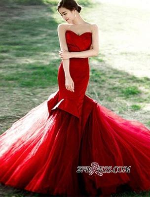 Red Sweetheart Elegant Lace-Up Mermaid Evening Dress UK_5