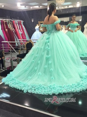 Off-The-Shoulder Cloud Rose-Flowers Mint-Green Ball-Gown Prom Dress UKes UK_3