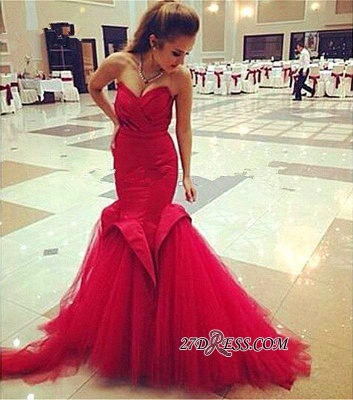 Red Sweetheart Elegant Lace-Up Mermaid Evening Dress UK_4