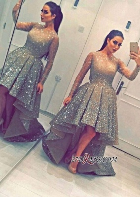 Luxurious Sequins Party Long-Sleeves Beadings Hi-Lo Homecoming Prom Dress UK BA3735_4