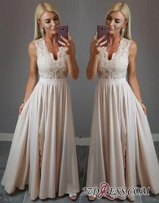 V-neck Stylish Split-front Lace Chiffon Champagne Evening Dress UK_1