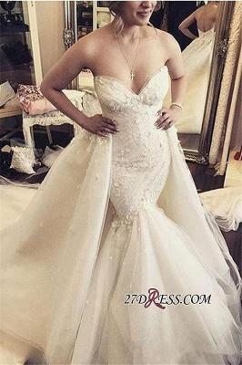 Floral Sleeveless Sexy Mermaid Luxurious Strapless Open-Back Ruffles Detachable-Train WEdding Dress_4