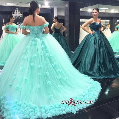 Off-The-Shoulder Cloud Rose-Flowers Mint-Green Ball-Gown Prom Dress UKes UK_2