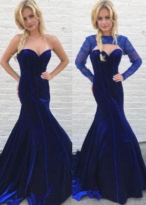Gorgeous Long Sleeve Detachable Mermaid Long Evening Dress UK Royal Blue On Sale_1