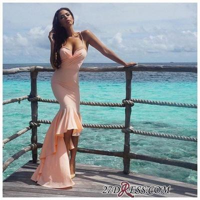 Nude Sweetheart Luxury Mermaid Hi-Lo Spaghetti-Starps Prom Dress UK_1