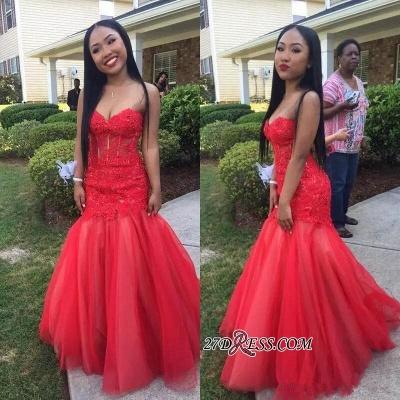 Mermaid Lace Tulle Floor-Length Sleeveless Sweetheart Red Prom Dress UKes UK_1