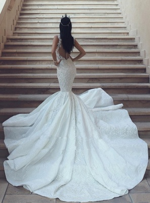Gorgeous V-Neck Wedding Dress   Sexy Mermaid Lace Bridal Gowns On Sale_4