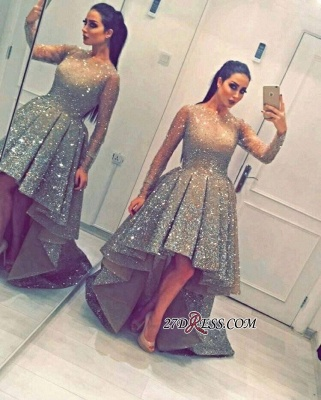 Luxurious Sequins Party Long-Sleeves Beadings Hi-Lo Homecoming Prom Dress UK BA3735_1