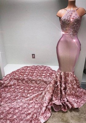 Gorgeous Halter Mermaid Pink Prom Dress UK Lace With 3D-Floral Flowers Bottom BA7797_5