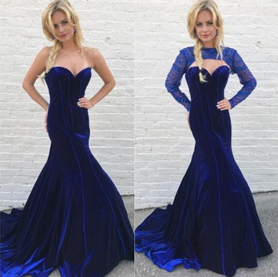 Gorgeous Long Sleeve Detachable Mermaid Long Evening Dress UK Royal Blue On Sale_3